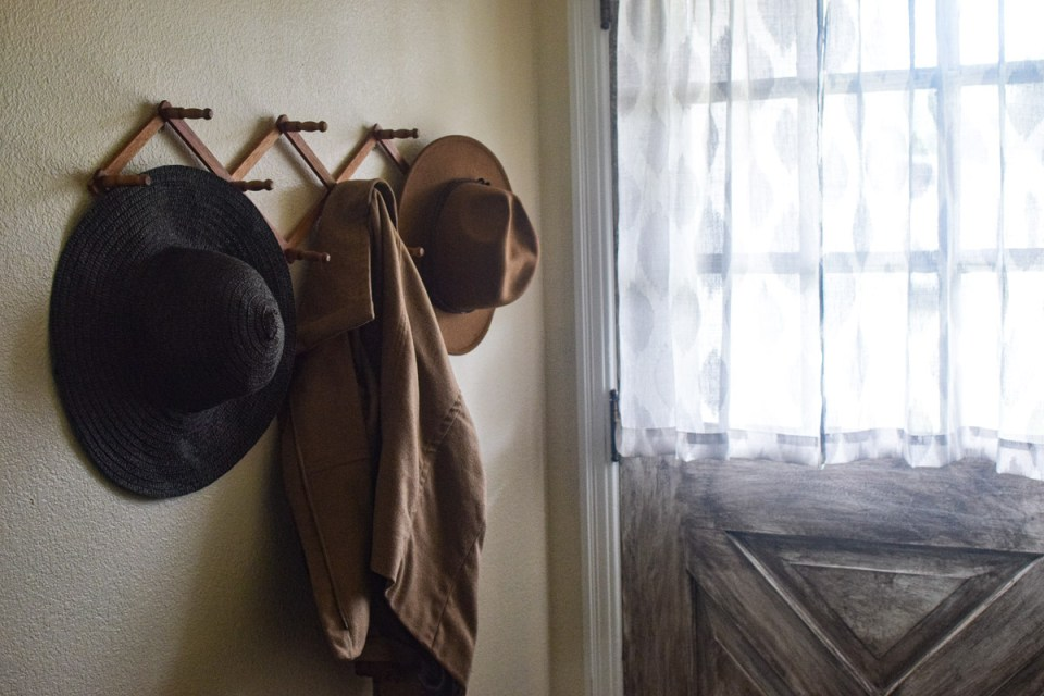 a coat hook hung for coats for prepping for fall