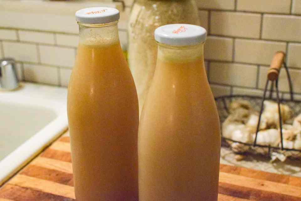 bone broth in milk jugs
