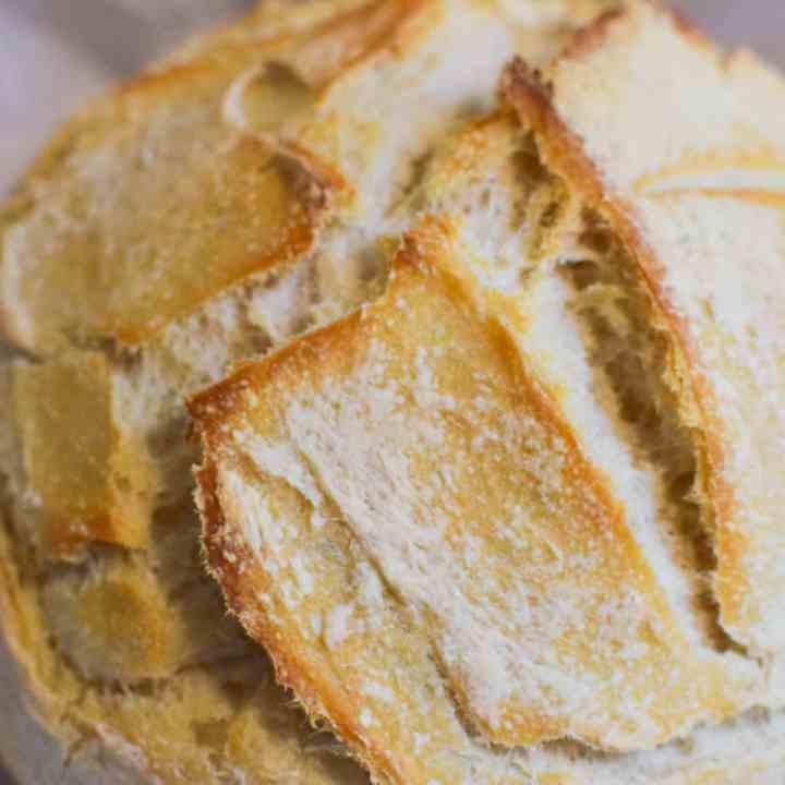 fresh baked loaf of sourdough artisan loaf upclose