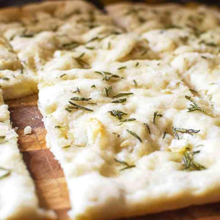 sliced up sourdough focaccia bread