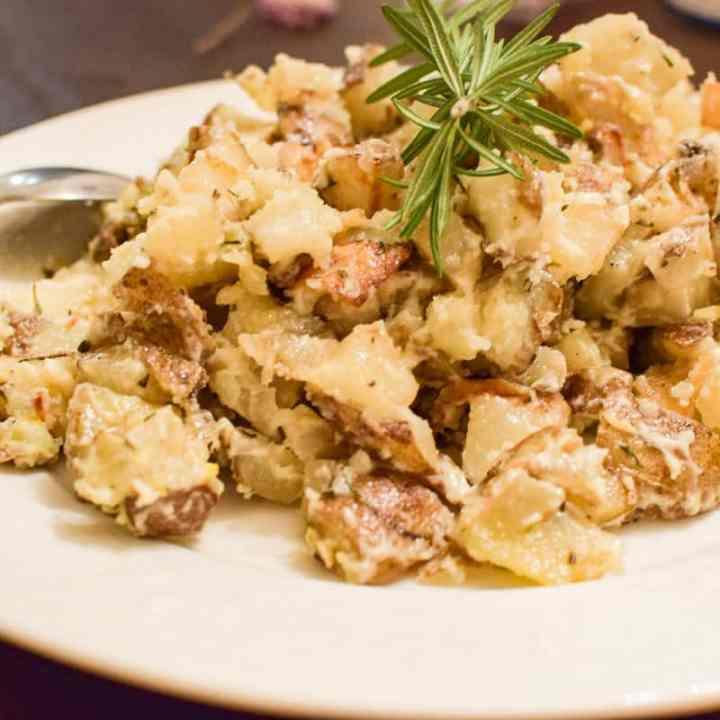 rosemary potato salad on a platter