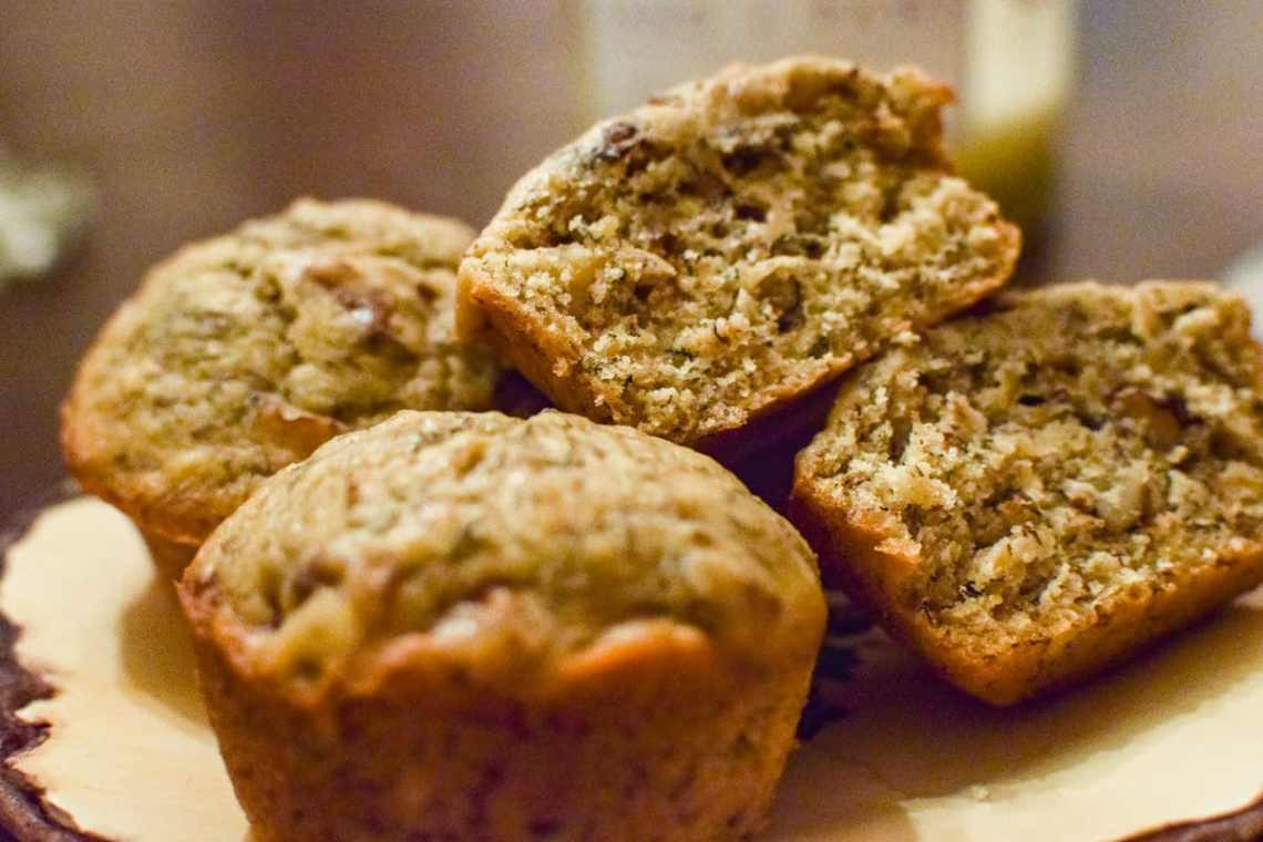 banana nut muffins on a plate