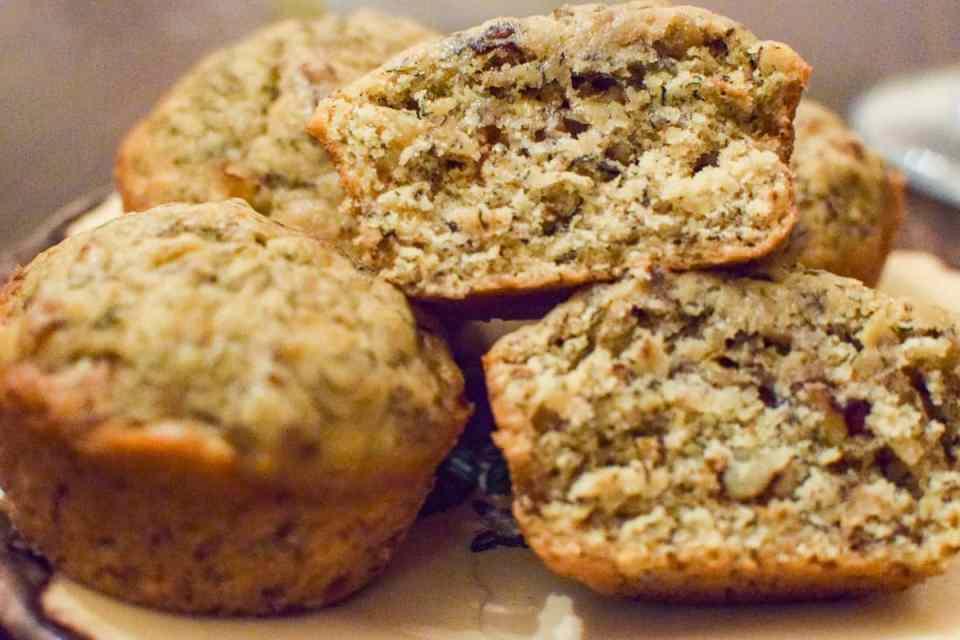 banana nut muffins upclose