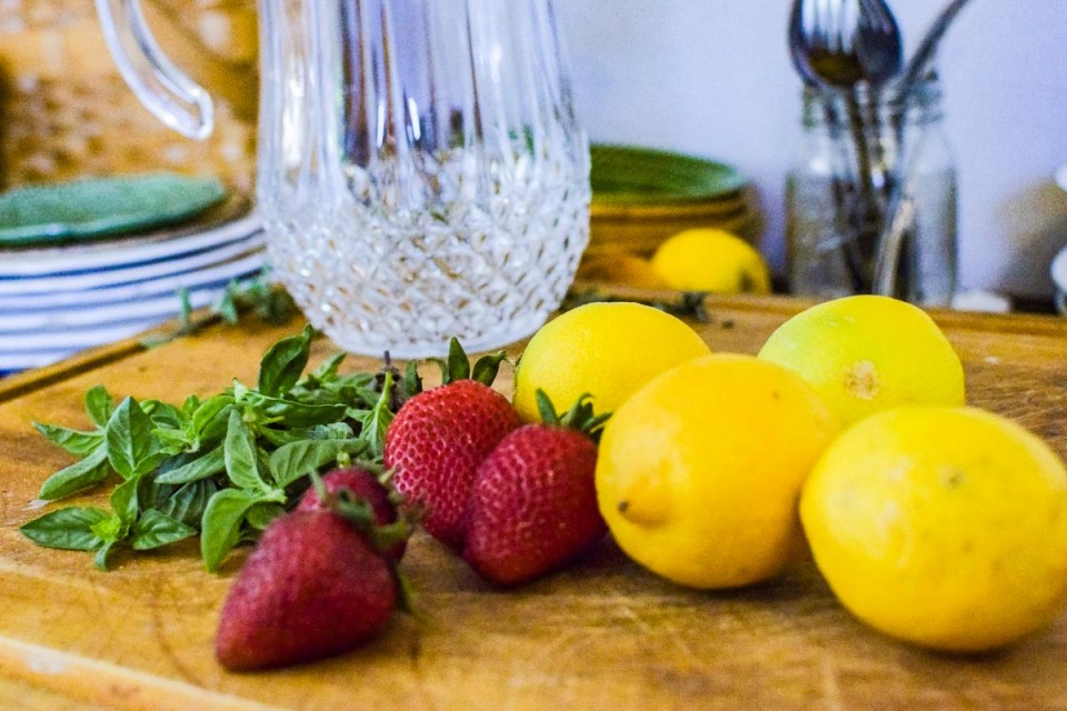 ingredients for strawberry basil lemonade