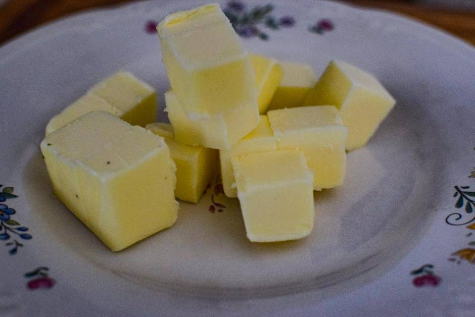 cold cubbed butter