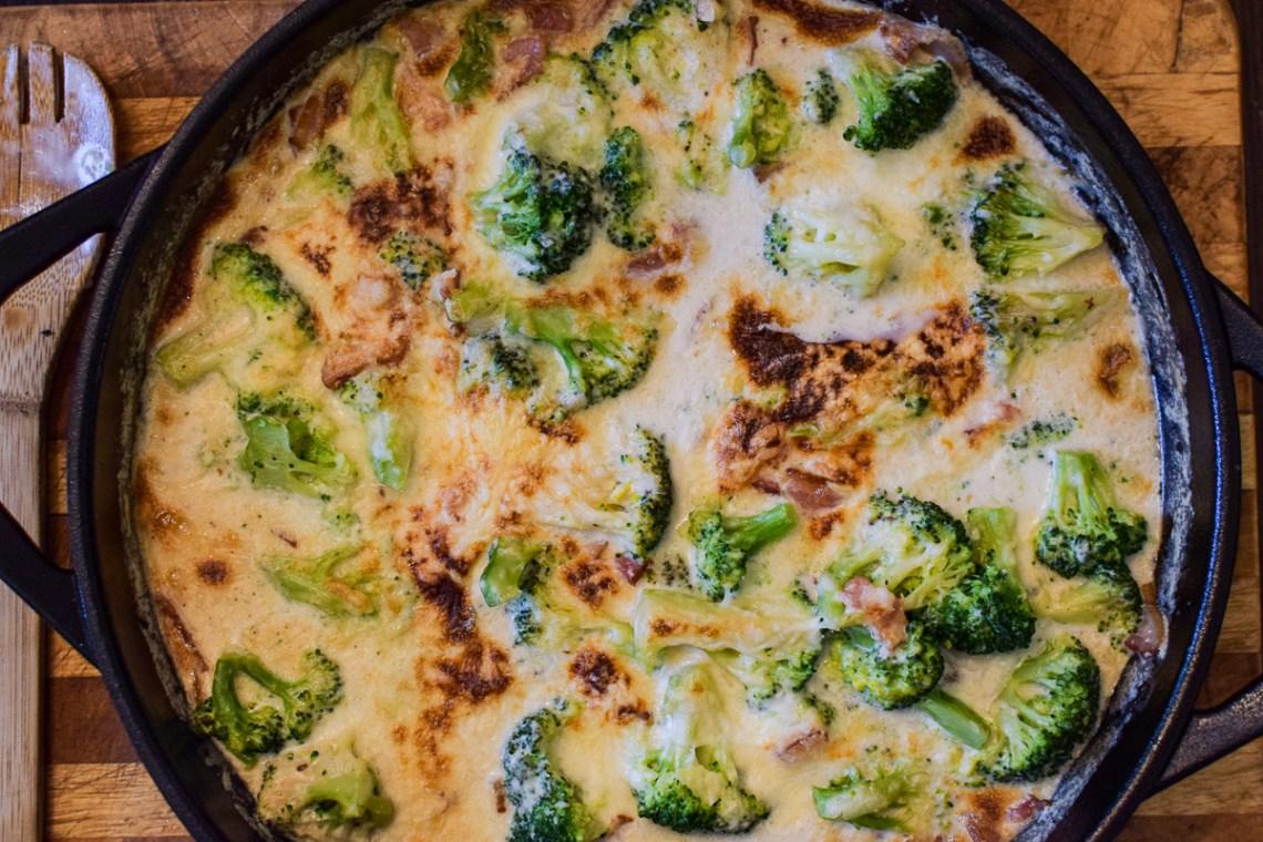 creamy broccoli bake in a pan