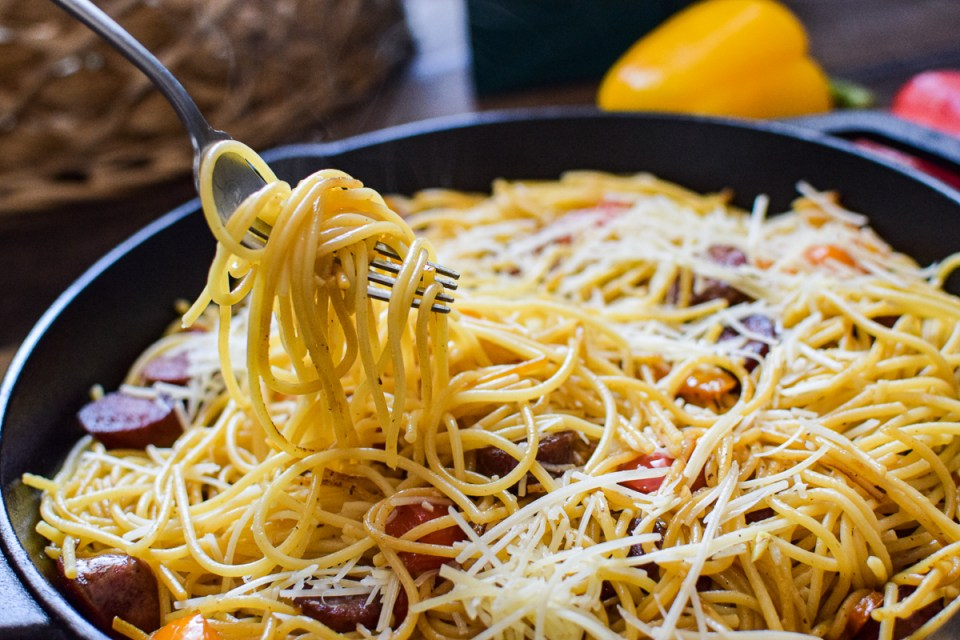sausage and pepper pasta in a pan