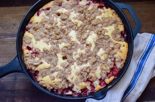 strawberry coffee cake in a skillet