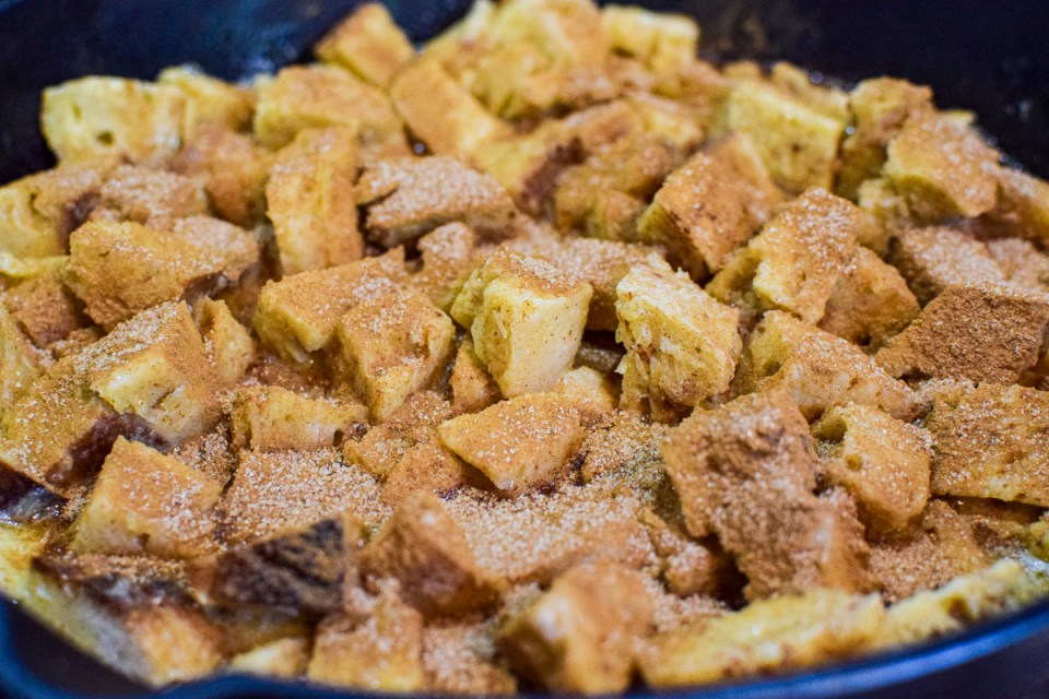sourdough french toast bake in a skillet
