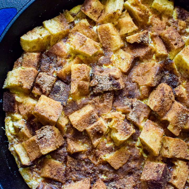 sourdough french toast in a skillet
