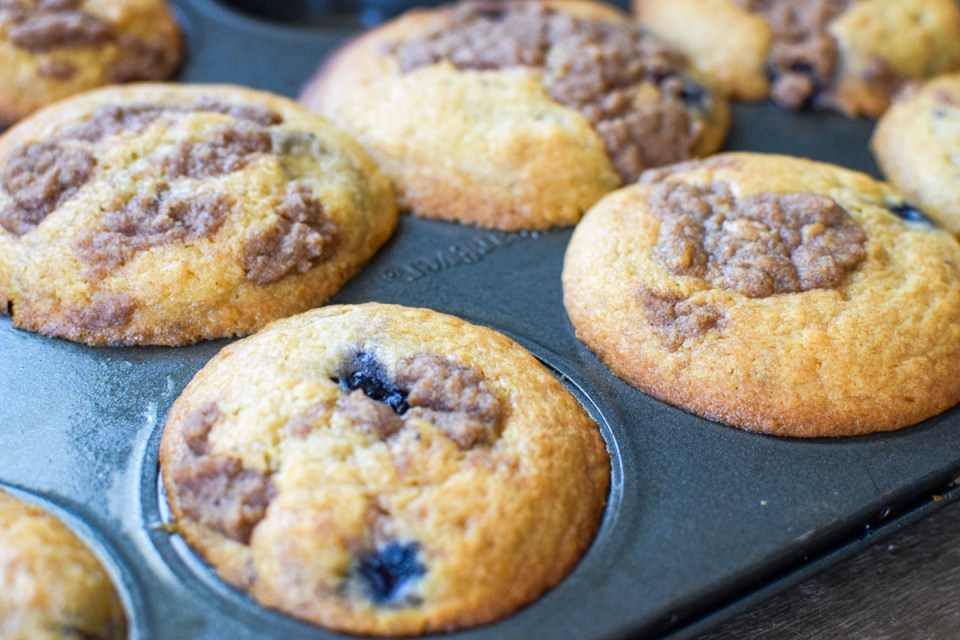 healthy lemon blueberry muffins in a muffin tin
