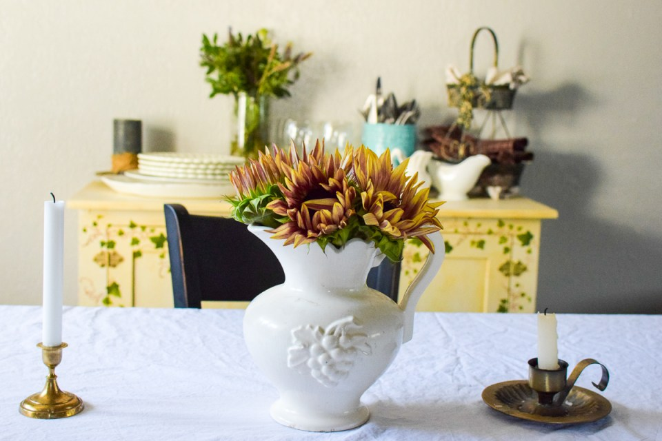 sunday dinner prep with a vase of sunflowers