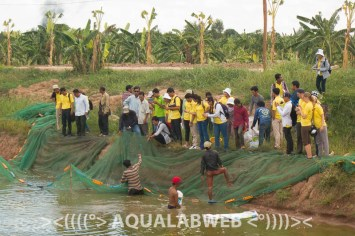 Students of CULS and RUA during their visit on fish farm 7 Makara, near to Phnom Penh, Cambodia