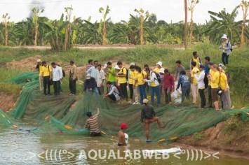 Students of CULS and RUA during their visit on fish farm 7 Makara, near to Phnom Penh, Cambodia