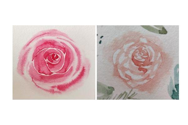 Différentes roses que l'on peut obtenir en suivant les étapes précédentes.