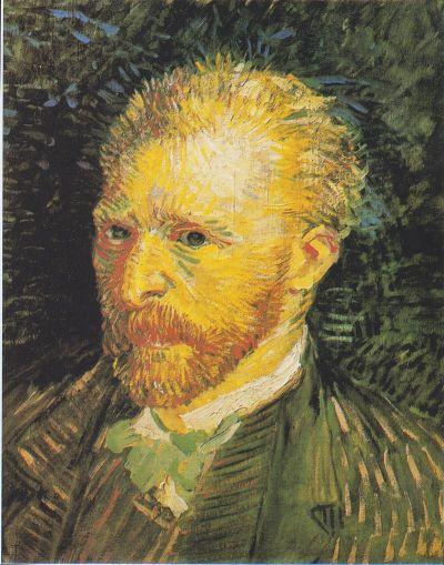 perspective peinture aquarelle - exemple de modelé par des hachures - autoportrait de Vincent van Gogh à l'automne 1887