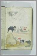 Delacroix Eugène, Etudes de campement arabe, Mine de plomb et aquarelle, H. 19,3 cm x L. 12,7 cm, Album Delacroix Eugène, Folio 6 dessiné au recto, Musée du Louvre, Département des Arts Graphiques © R.M.N.