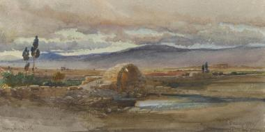 Carl Haag, Near the Ruins of Baalbek, aquarelle, 1859, collection privée, source : the Athenaeum, disponible sur www.the-athenaeum.org/ (consulté le 19/03/13)