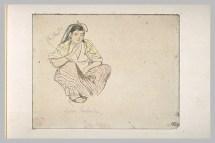 Delacroix Eugène, Femme arabe, assise, de trois quarts à droite, aquarelle et mine de plomb, H. 00,107 m ; L. 00,138 m © Musée du Louvre, Département des Arts graphiques, RMN