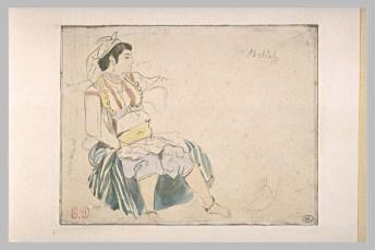 Delacroix Eugène, Femme arabe assise, de profil vers la droite, aquarelle et mine de plomb, H. 00,107 m ; L. 00,138 m© Musée du Louvre, Département des Arts graphiques, RMN