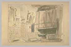 Delacroix Eugène, Intérieur à Alger, aquarelle et mine de plomb, H. 00,108 m ; L. 00,160 m, Département des arts graphiques, Musée du Louvre, Paris © Musée du Louvre, Département des Arts graphiques, RMN