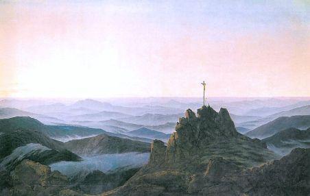 Friedrich Caspar David, Matin sur le Riesengebirge, Caspar David Friedrich, 1810-1811, Huile sur toile, 108 cm X 170 cm, Galerie des Peintres romantiques, Alte Nationalgalerie Berlin.
