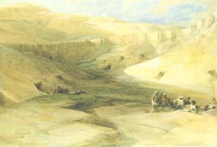 David Robert (1796-1864), La vallée des rois, l'entrée des tombes des rois de Thèbes, 1838, aquarelle et gouache sur graphite, 32,5x47,6cm, disponible sur la base Joconde http://musee.louvre.fr/bases/doutremanche/notice.php?lng=0&idOeuvre=2215&f=2300 (consulté le 27/03/13)