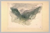 Delacroix Eugène, Chaînes de montagne dans la brume : Pyrénées, Aquarelle, vers 1845, H. 00,195 m ; L. 00,253 m, Département des arts graphiques, Musée du Louvre © Musée du Louvre, Département des Arts graphiques, RMN