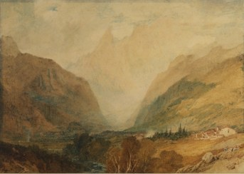 William Turner, Le Mont Blanc vu des hauteurs de Courmayeur, vers 1810, Aquarelle - 28,2 x 39,8 cm, Londres, Courtauld Gallery The Courtauld Gallery