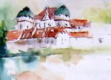 aquarell, riegersburg, meierei, teich