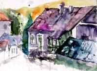 aquarell, hardegg, retzerland, waldviertel, niederösterreich, gasse