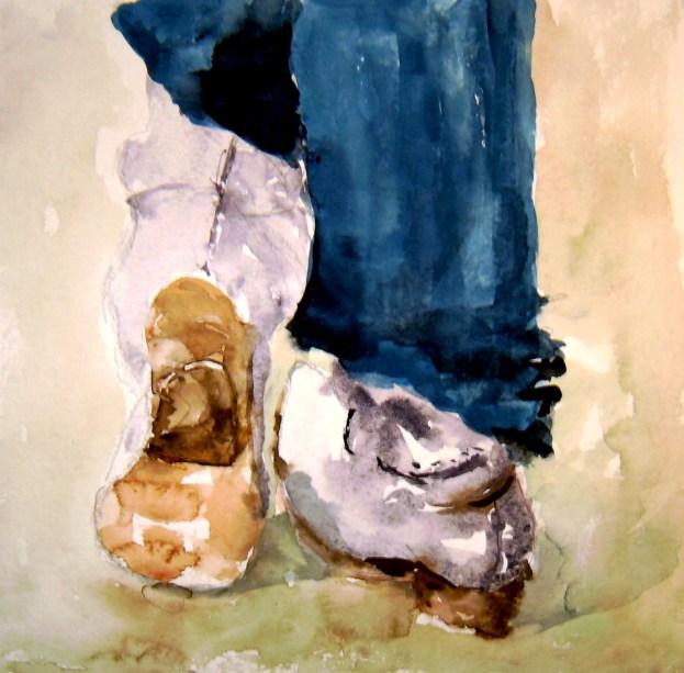 aquarell, stiefel, füsse, beine, warten, watercolor, boots,