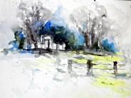 aquarell, Watercolor, retzerland, retzbach, unterretzbacg, kriegerdenkmal