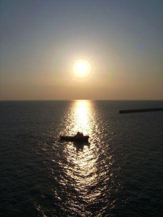 sonnenuntergang, dawn, meer, schiff, boot, boat, ägäis