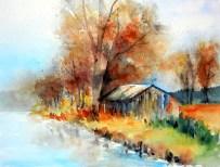 aquarell, watercolor, aquarelle, landschaft, landscape, paysage, trees, bäume, arbres, hütte, cabin, hut, cabane, herbst, fall, autumn, automne