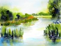 aquarell, watercolor, aquarelle, landschaft, landscape, paysage, trees, bäume, arbres, teich, pond, étang, sommer, summer, été, schilf, reed, roseau, spiegelung, reflection, reflet