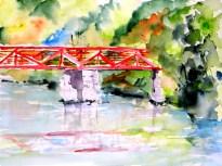 aquarell, watercolor, aquarelle, landschaft, landscape, paysage, trees, bäume, arbres, spiegelung, reflection, reflet, sommer, summer, été, brücke, bridge, pont, thaya, hardegg, retzerland