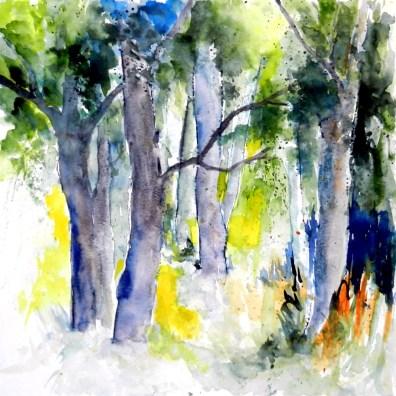 aquarell, watercolor, aquarelle, pleissing, bäume, trees, arbres, wald, forest, bois,
