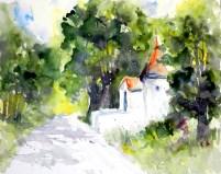 aquarell, watercolor, aquarelle, kapelle, chapel, chapelle, kärnten, Carinthia, la Carinthie, weissensee