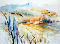 aquarell, watercolor, aquarelle, toskana, tuskany, toscane, landschaft, landscape, paysage, italien, italy, italie, volterra