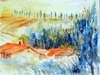aquarell, watercolor, aquarelle, toskana, tuskany, toscane, landschaft, landscape, paysage, italien, italy, italie, castelfiorentino, zypresse, cypress, cyprès