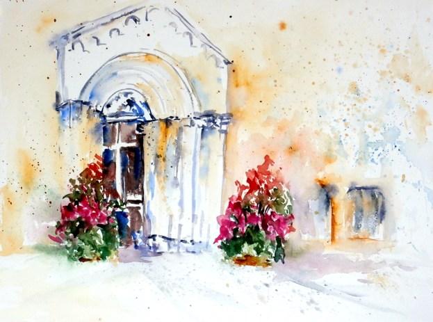 aquarell, watercolor, aquarelle, kirche, church, église, tor, gate, porte, tür, door, porte, st. veit an der glan, kirchentür