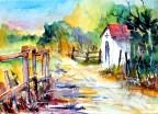 quarell, watercolor, aquarelle, weg, path, chemin, marterl, zaun, fence, clôture, landschaft, landscape, paysage,