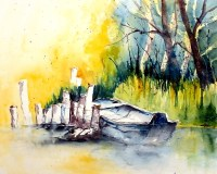 aquarell, watercolor, aquarelle, see, lake, lac, boot, boat, bateau, schilf, reed, roseau, spreewald