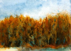 aquarell, watercolor, aquarelle, acquerello, acuarela, maisfeld, cornfield, camp de mais, campo di mais, maizal,