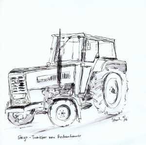 zeichnung, drawing, dessin, disegno, dubujo, füllfeder, fountain-pen, stylo á plume, stilografica, pluma, traktor, tractor, tracteur, trattore, Steyr