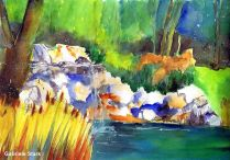 aquarell, watercolor, aquarelle, acquerello, acuarela, fischteich, fishpond, vivier, peschiera, vivaio, cetárea, cetaria, estanque, hessendorf