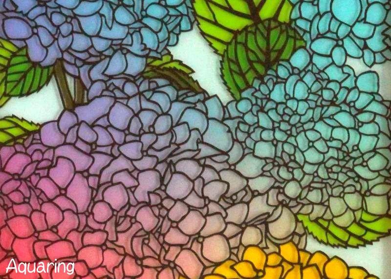 紫陽花(アジサイ)の切り絵