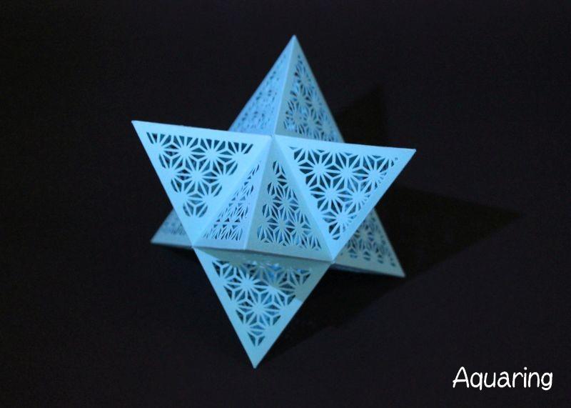 星型八面体の立体切り絵