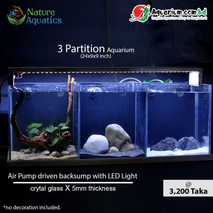 3-Partition-Aquarium--24x9x9-inch(Air-Pump-driven-backsump-with-LED-Light